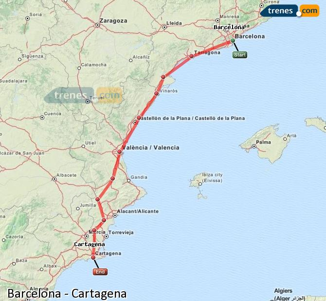 Enlarge map Trains Barcelona to Cartagena