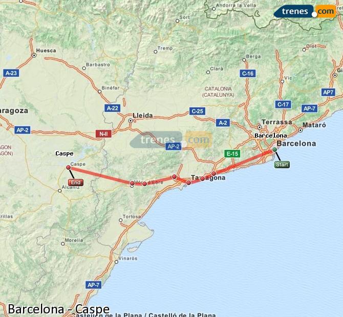 Ingrandisci la mappa Treni Barcellona Caspe