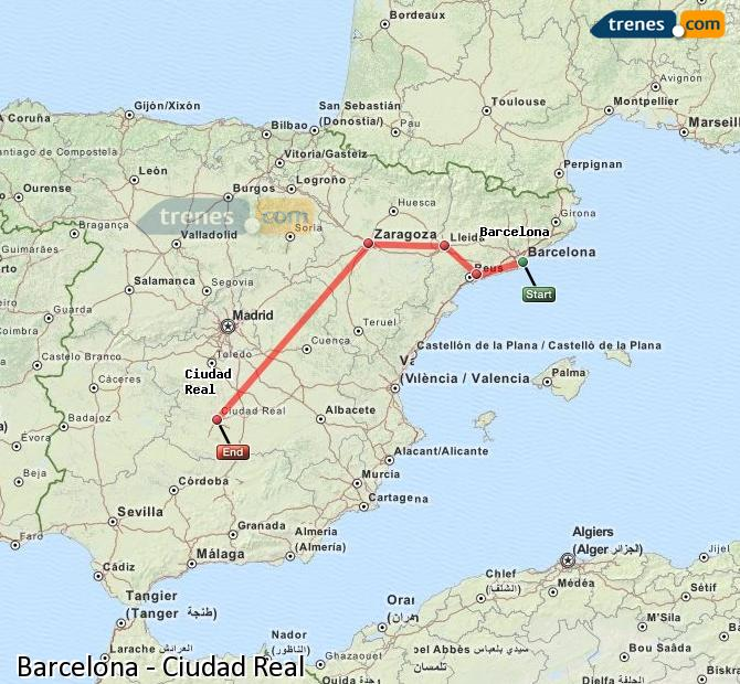 Enlarge map Trains Barcelona to Ciudad Real