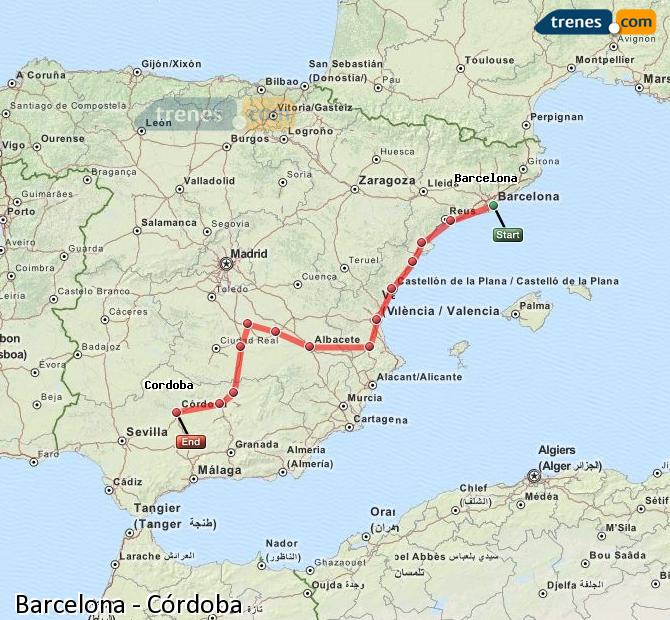 Enlarge map Trains Barcelona to Córdoba
