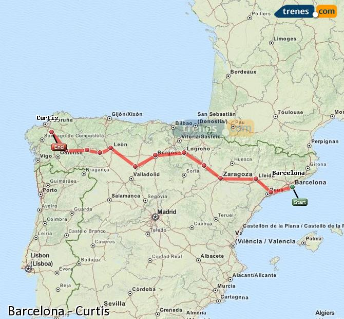 Enlarge map Trains Barcelona to Curtis