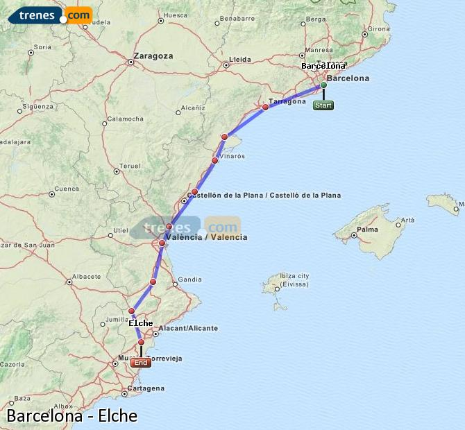 Enlarge map Trains Barcelona to Elche