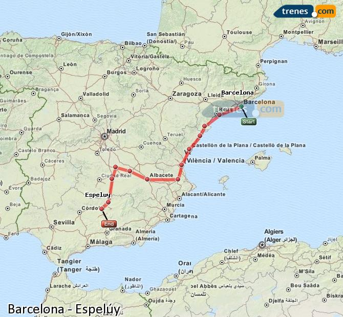 Enlarge map Trains Barcelona to Espelúy