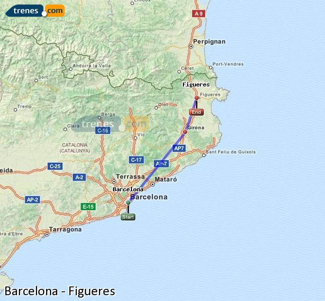 Enlarge map Trains Barcelona to Figueres