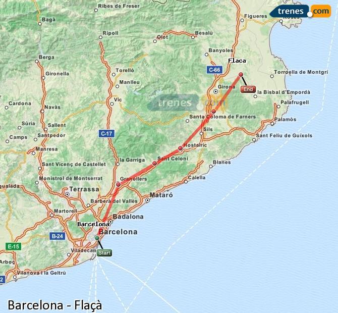 Karte vergrößern Züge Barcelona Flaçà