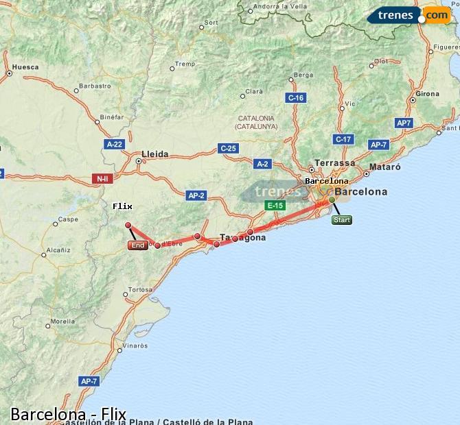 Agrandir la carte Trains Barcelone Flix