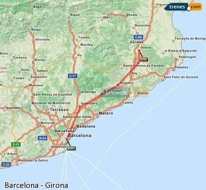Karte vergrößern Züge Barcelona Girona
