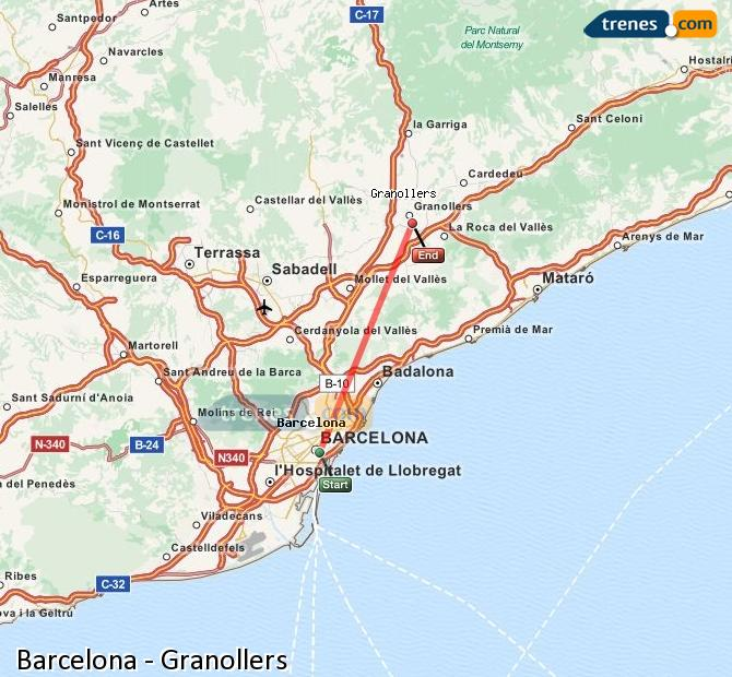 Enlarge map Trains Barcelona to Granollers