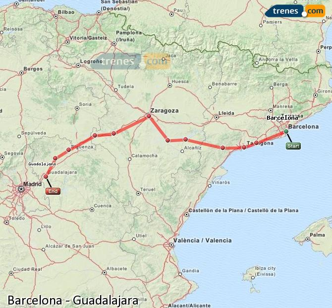 Enlarge map Trains Barcelona to Guadalajara
