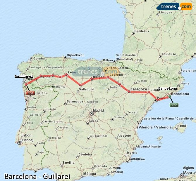 Enlarge map Trains Barcelona to Guillarei