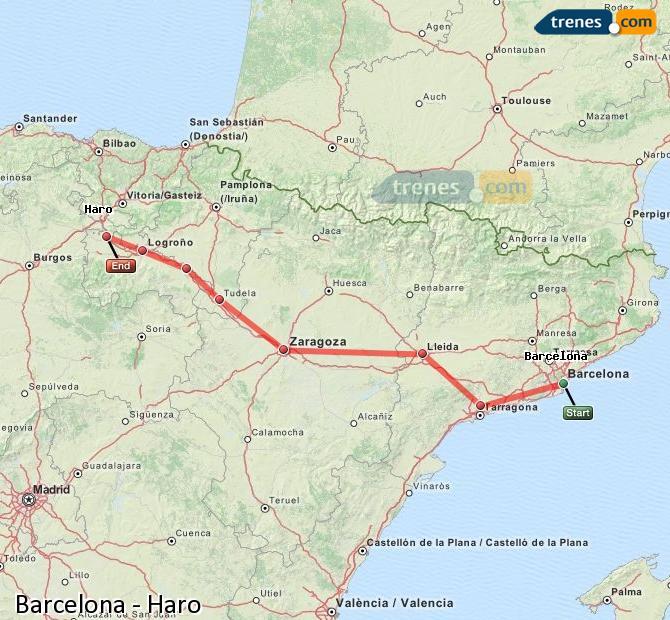 Karte vergrößern Züge Barcelona Haro