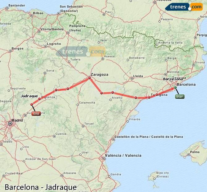 Enlarge map Trains Barcelona to Jadraque