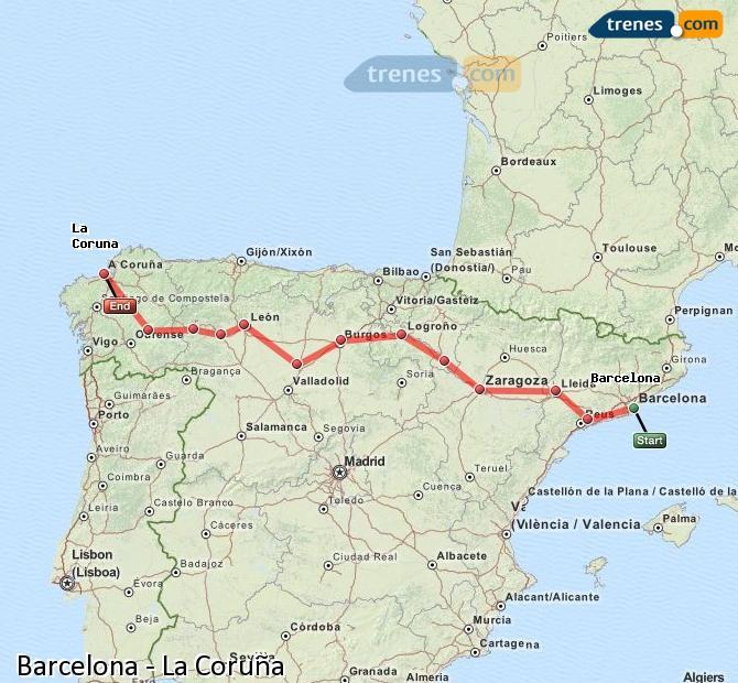 Karte vergrößern Züge Barcelona La Coruña