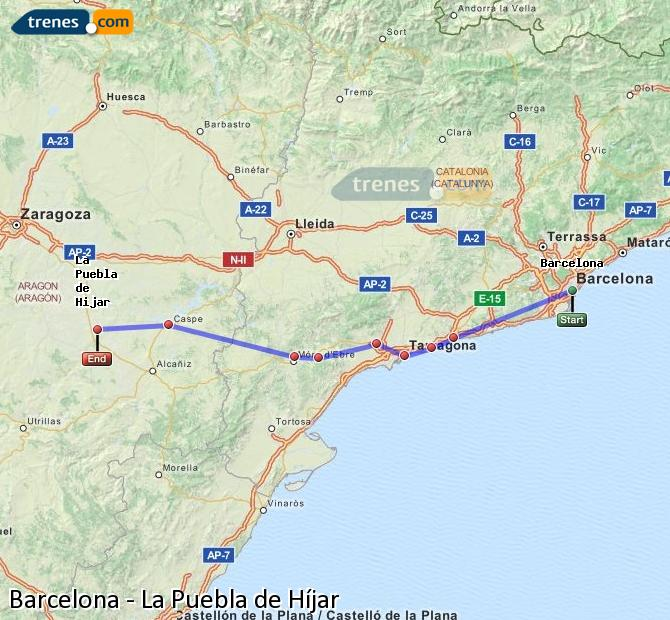 Enlarge map Trains Barcelona to La Puebla de Híjar