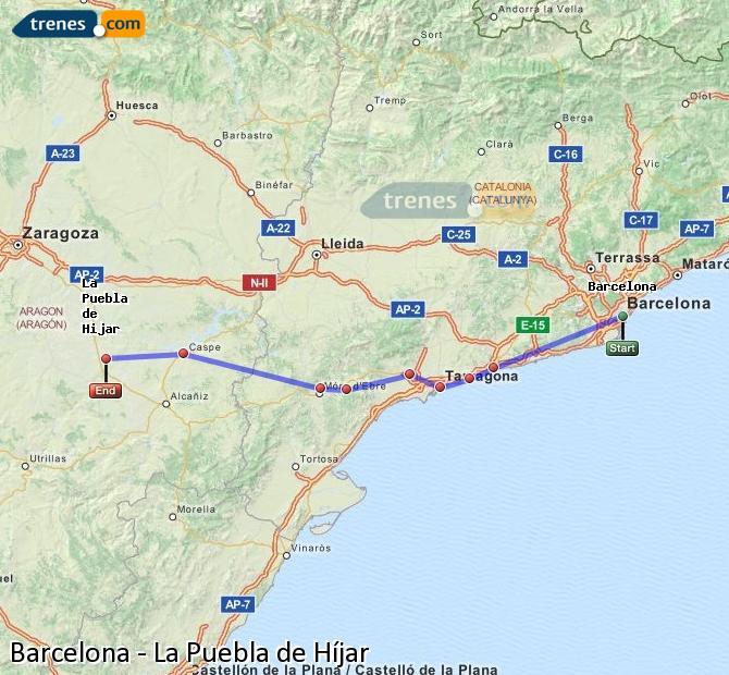 Agrandir la carte Trains Barcelone La Puebla de Híjar