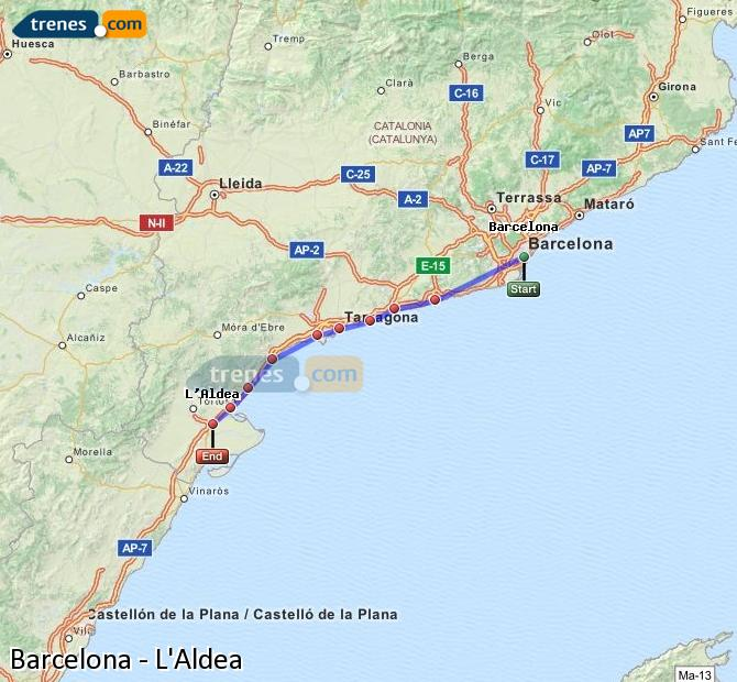 Enlarge map Trains Barcelona to L'Aldea