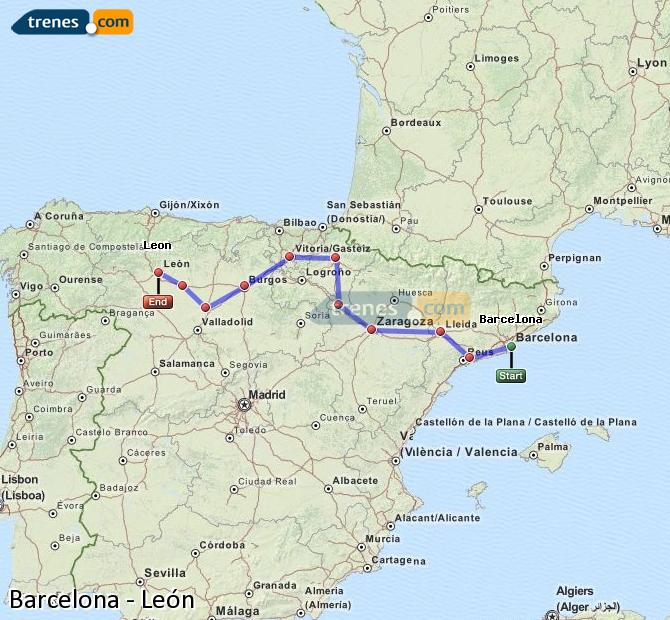 Enlarge map Trains Barcelona to Lion