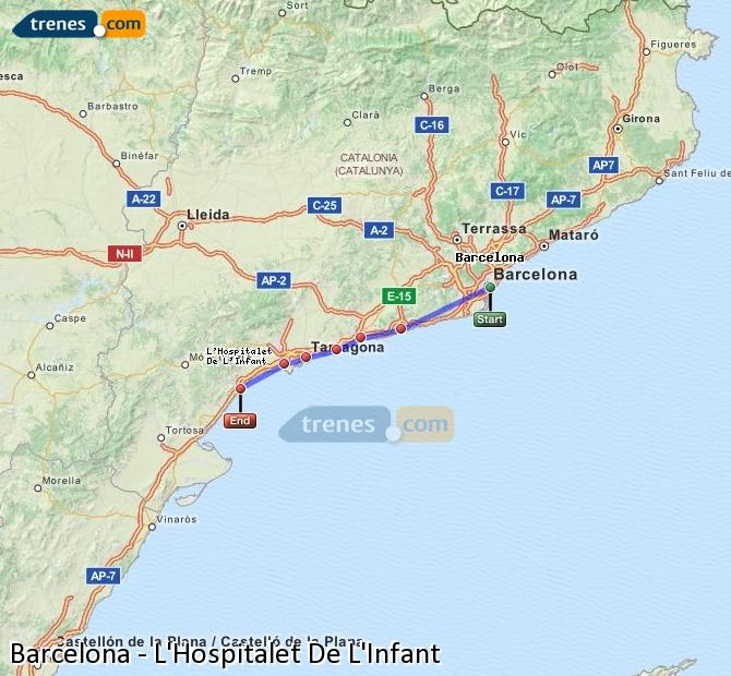 Agrandir la carte Trains Barcelone L'Hospitalet De L'Infant