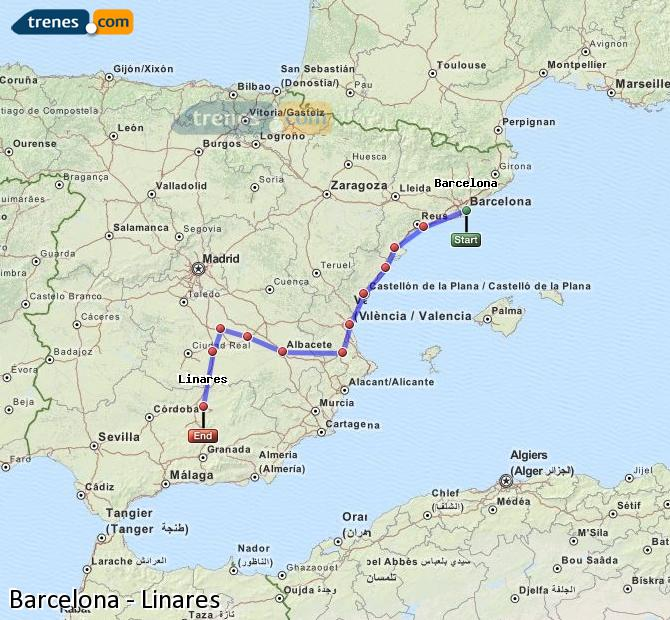 Enlarge map Trains Barcelona to Linares