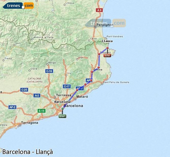 Ampliar mapa Comboios Barcelona Llançà