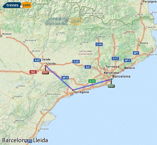 Enlarge map Trains Barcelona to Lleida