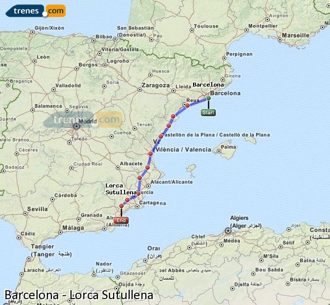 Karte vergrößern Züge Barcelona Lorca Sutullena