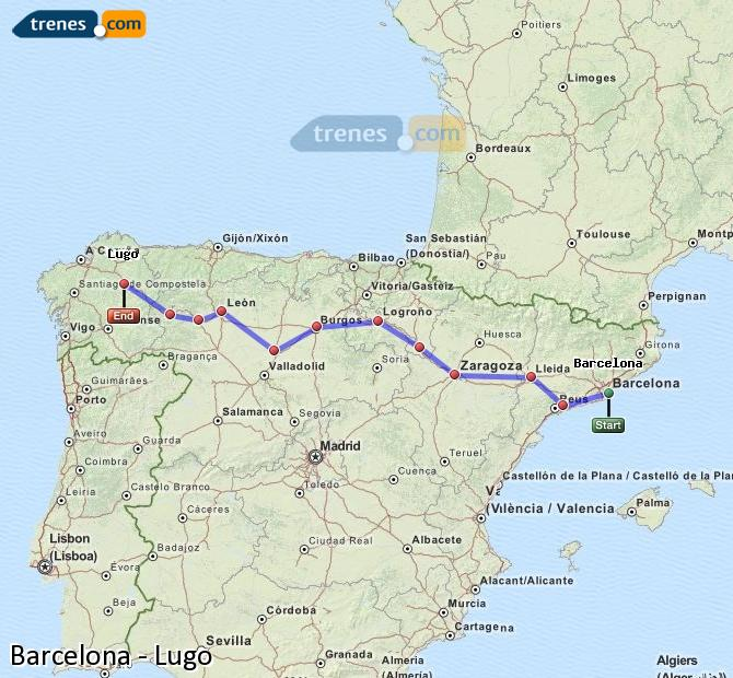Enlarge map Trains Barcelona to Lugo