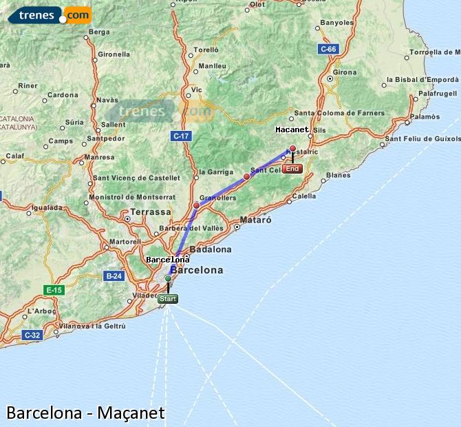 Enlarge map Trains Barcelona to Maçanet