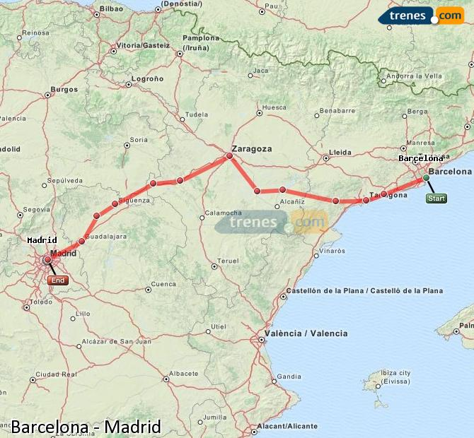 Enlarge map Trains Barcelona to Madrid