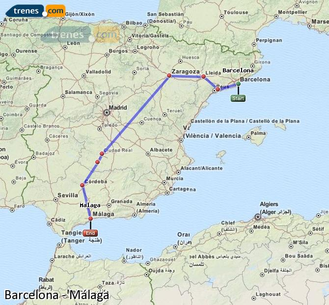Enlarge map Trains Barcelona to Malaga