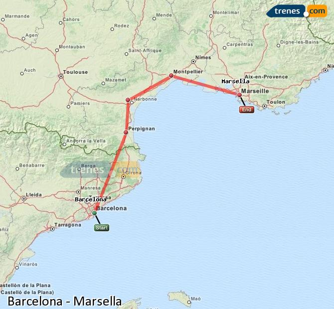 Enlarge map Trains Barcelona to Marsella