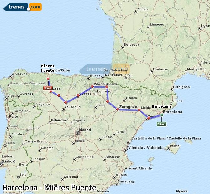 Enlarge map Trains Barcelona to Mieres Puente