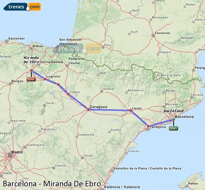Agrandir la carte Trains Barcelone Miranda De Ebro