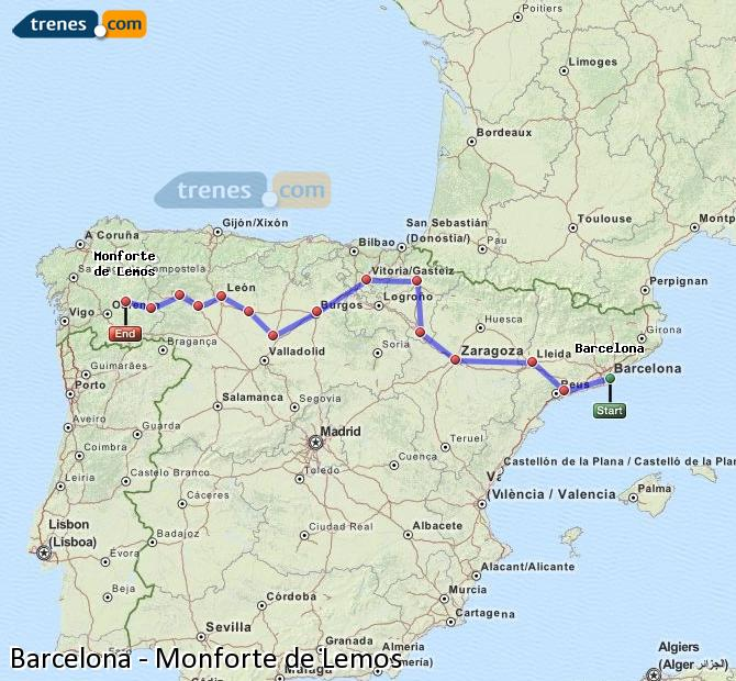 Enlarge map Trains Barcelona to Monforte de Lemos