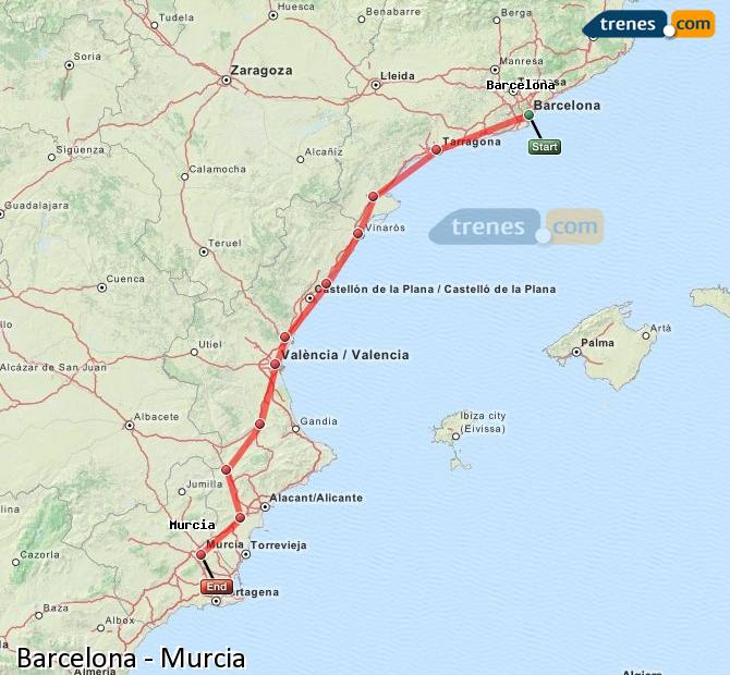 Enlarge map Trains Barcelona to Murcia