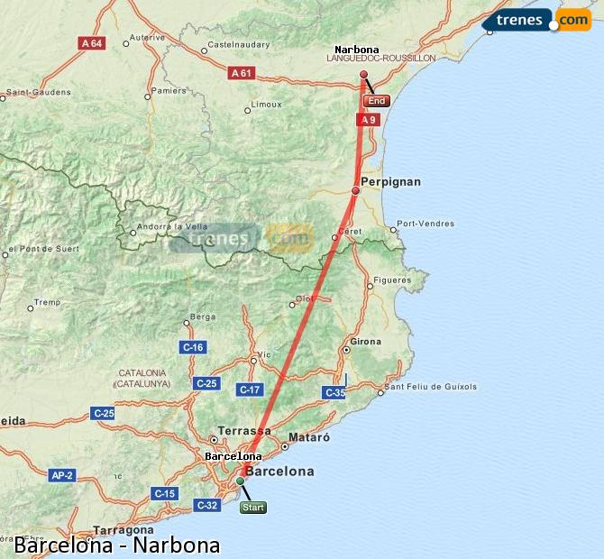 Enlarge map Trains Barcelona to Narbonne