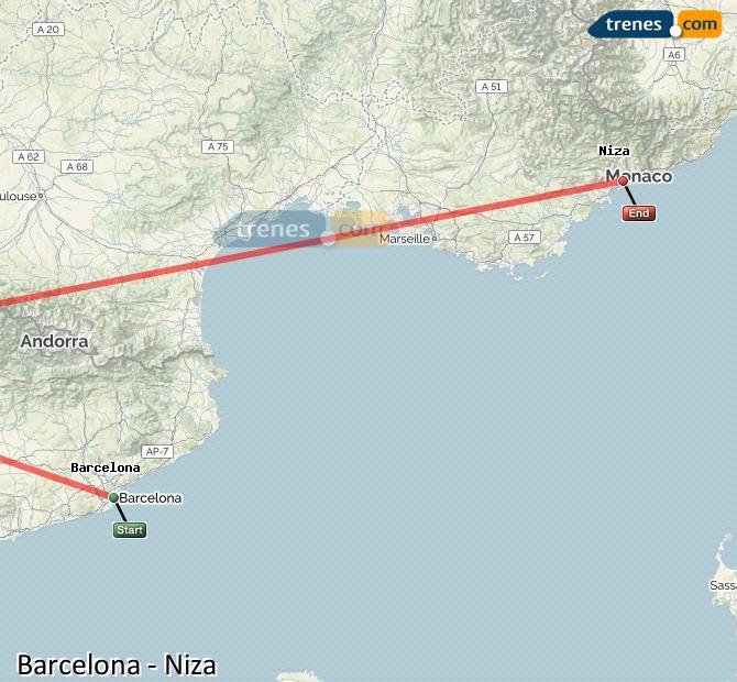 Karte vergrößern Züge Barcelona Nizza