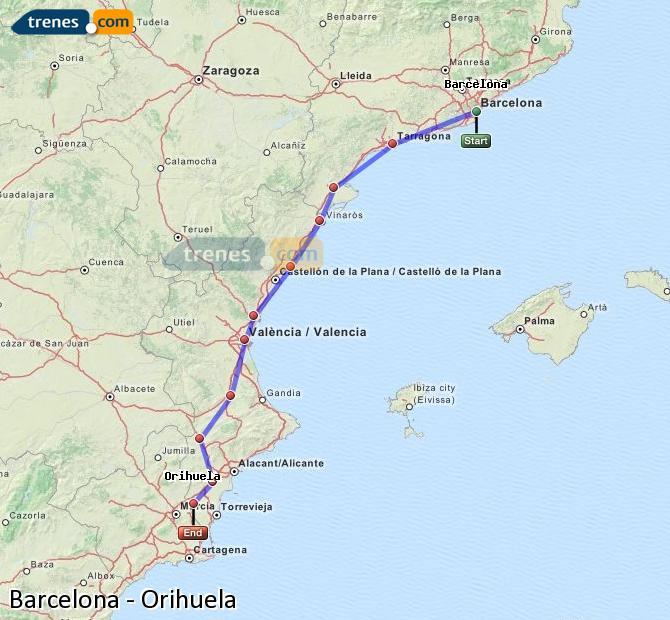 Enlarge map Trains Barcelona to Orihuela