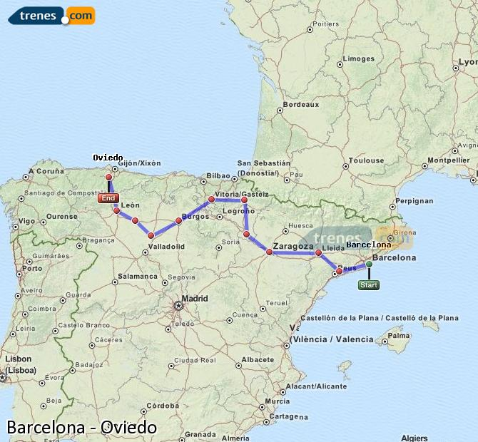 Enlarge map Trains Barcelona to Oviedo