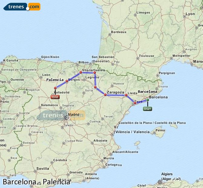 Enlarge map Trains Barcelona to Palencia