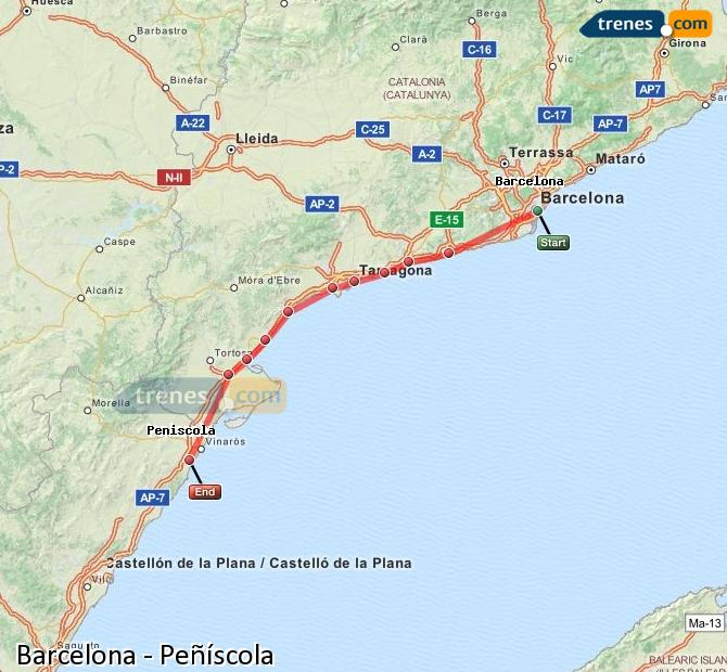 Ampliar mapa Trenes Barcelona Peñíscola