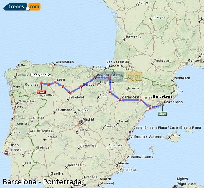 Enlarge map Trains Barcelona to Ponferrada