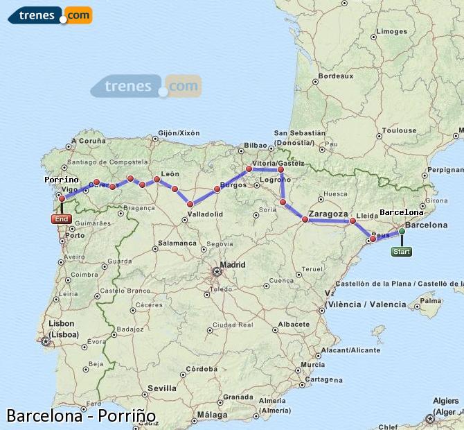 Ingrandisci la mappa Treni Barcellona Porriño
