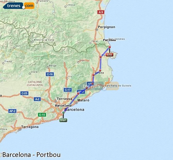 Karte vergrößern Züge Barcelona Portbou