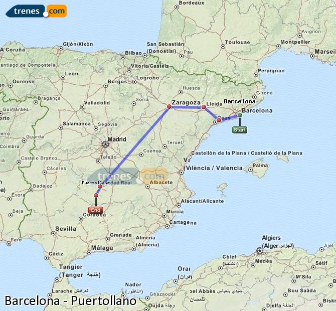 Enlarge map Trains Barcelona to Puertollano