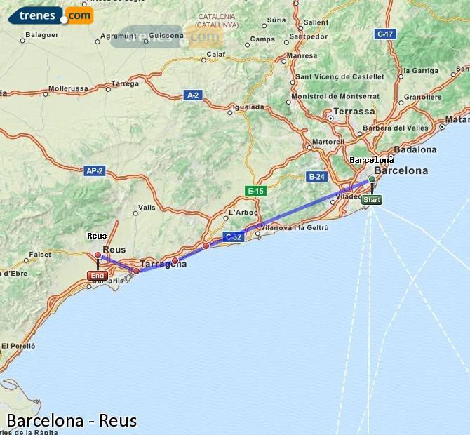 Ampliar mapa Comboios Barcelona Reus
