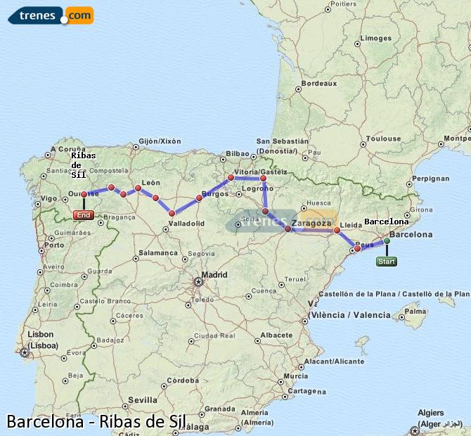 Karte vergrößern Züge Barcelona Ribas de Sil