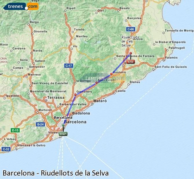 Ingrandisci la mappa Treni Barcellona Riudellots de la Selva