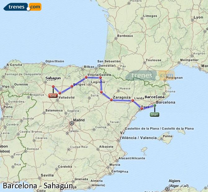 Enlarge map Trains Barcelona to Sahagun