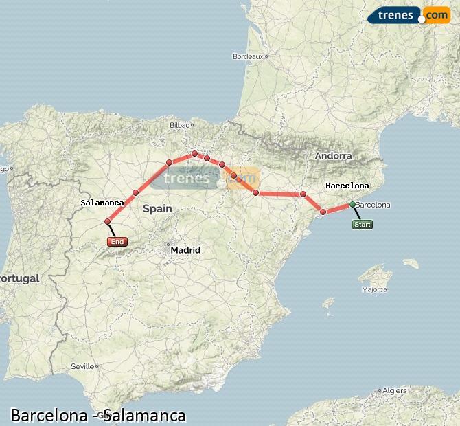 Ampliar mapa Trenes Barcelona Salamanca